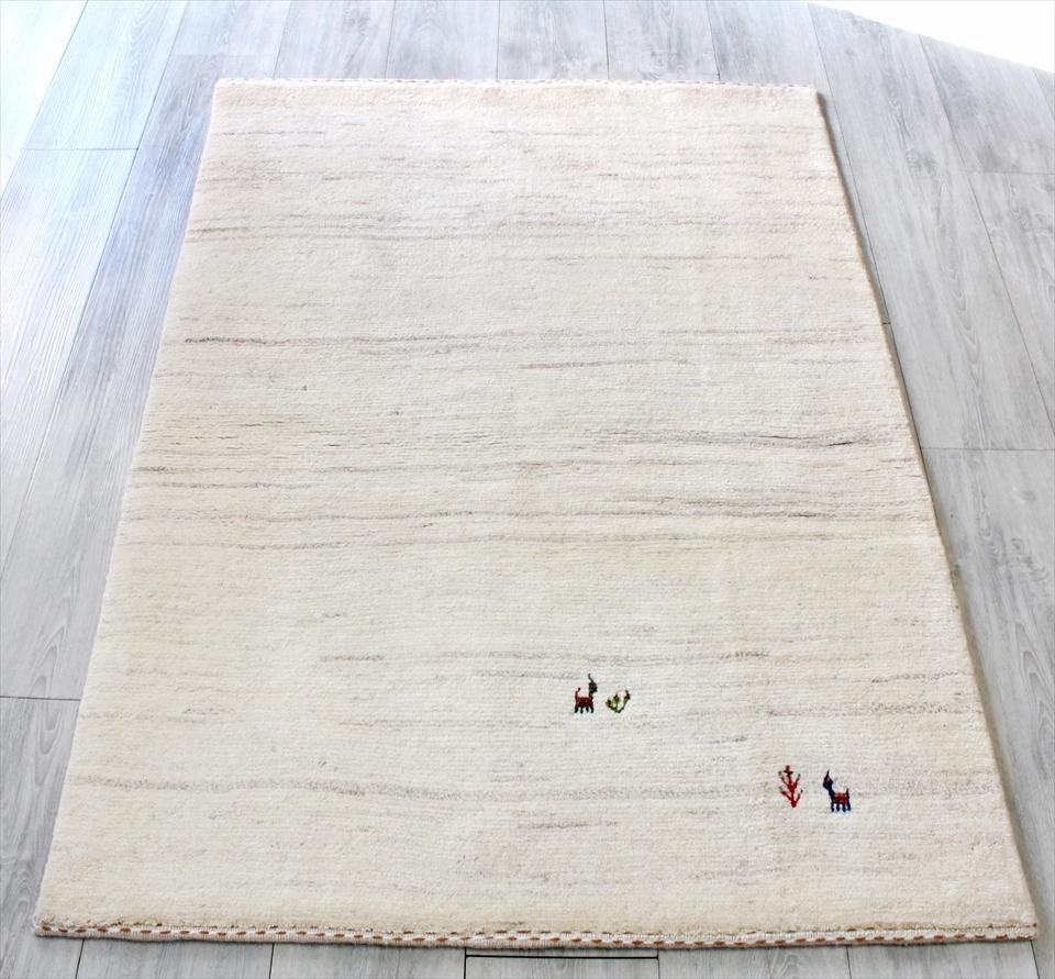 ギャッベ イラン直輸入 ノマド アクセントラグサイズ137x96cm ナチュラルアイボリー 動物と植物のモチーフ