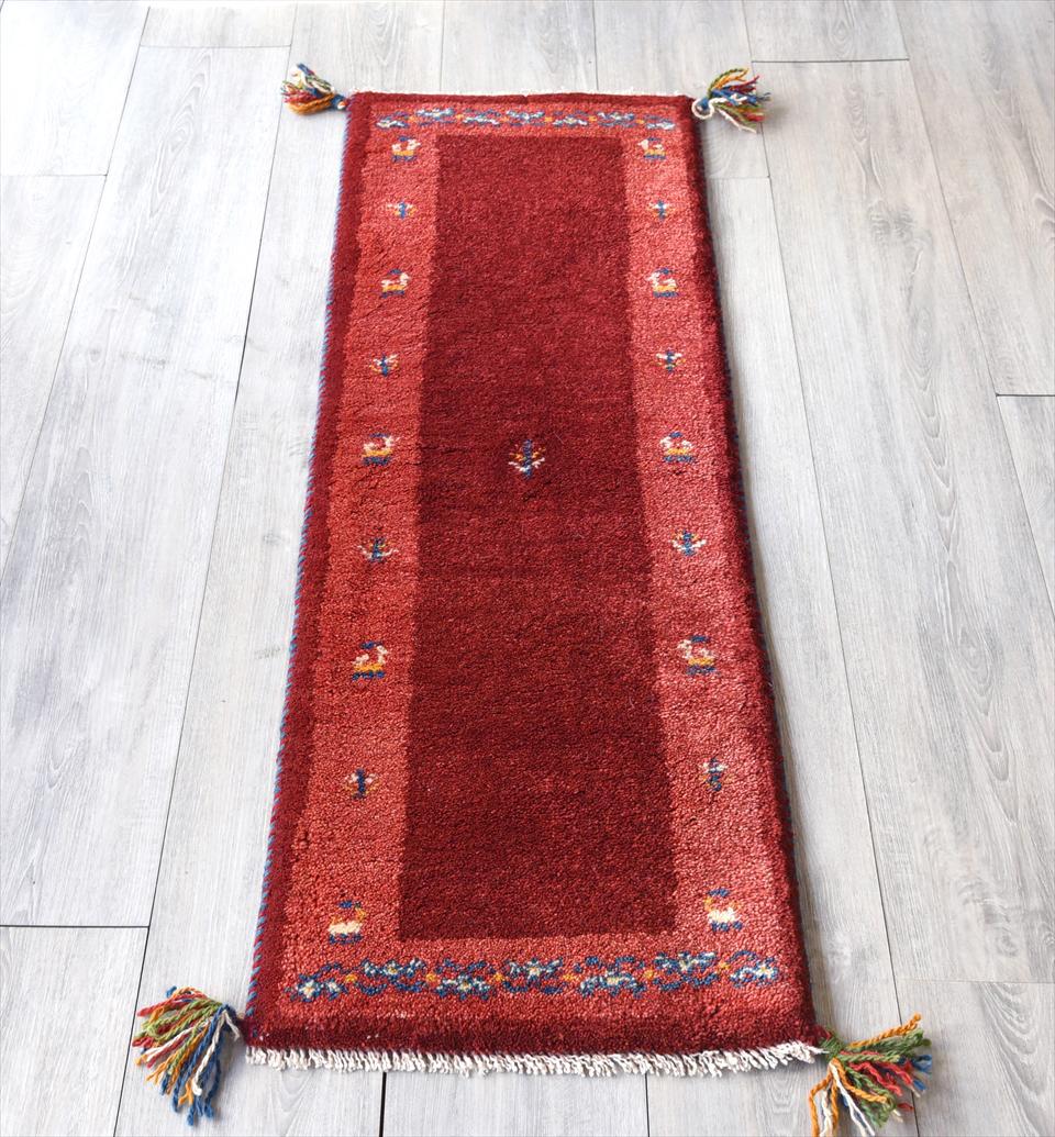 ギャッベ イラン直輸入の手織りラグ・細長ランナーサイズ 120x40cm レッド 動植物の枠取り