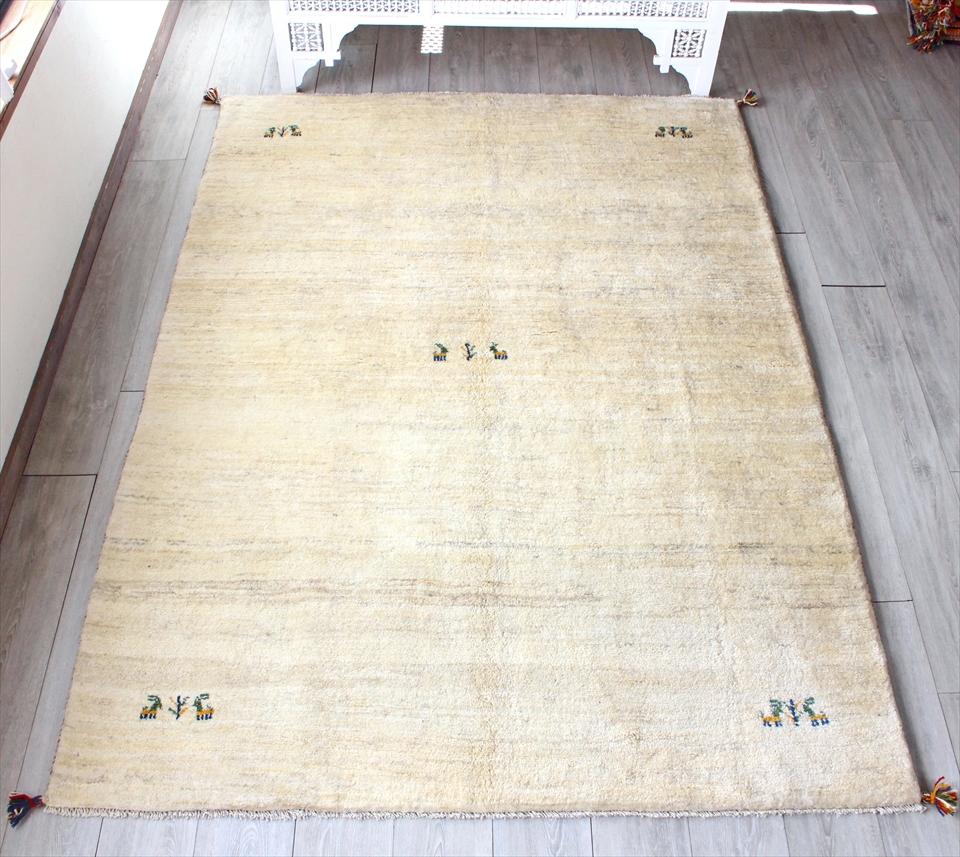 ギャッベ・スタンダードな織り リビングサイズ235x171cm ナチュラルアイボリー&ブラウン グラデーション 動物と植物のモチーフ