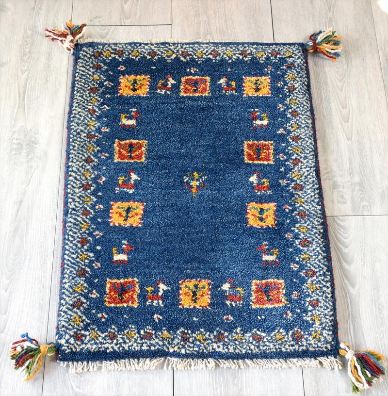イラン手織りギャッベ・玄関マット ミニサイズ58x42cm ブルー・幾何学ボーダー(額縁) スクエア 動物と植物のモチーフ
