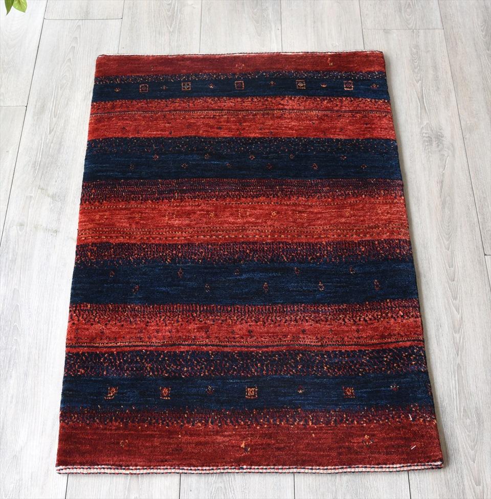 ギャッベ最上級の織り/ロリアタシュ・玄関マットサイズ88×62cmネイビー&レッド ボーダーストライプ 幾何学モチーフ