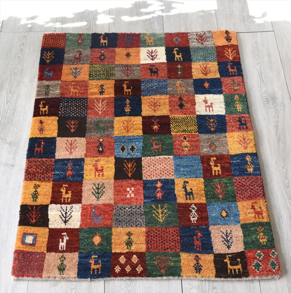 ギャッベ・ノマド Nomad イラン手織り 玄関サイズ88×63cmカラフルタイル・動物と植物のモチーフ
