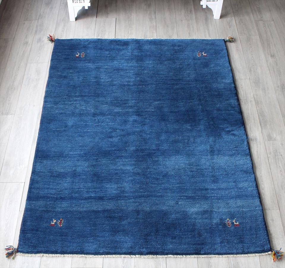 ギャッベ・イラン製 素朴な織り センターラグサイズ202x152cm ブルー・動物のモチーフ