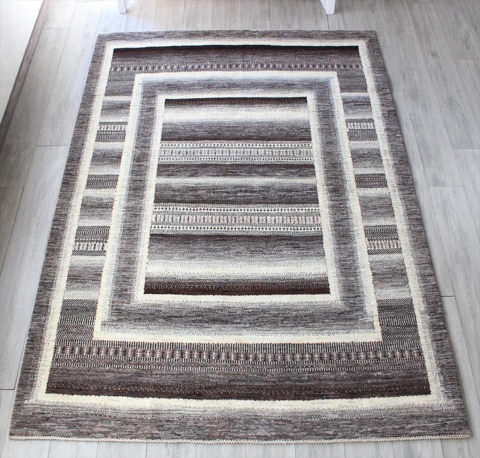 ギャッベ・ロリアタシュ/最上級の織り リビングサイズ227x175cm ナチュラルカラー スクエアデザイン 生命の樹モチーフ