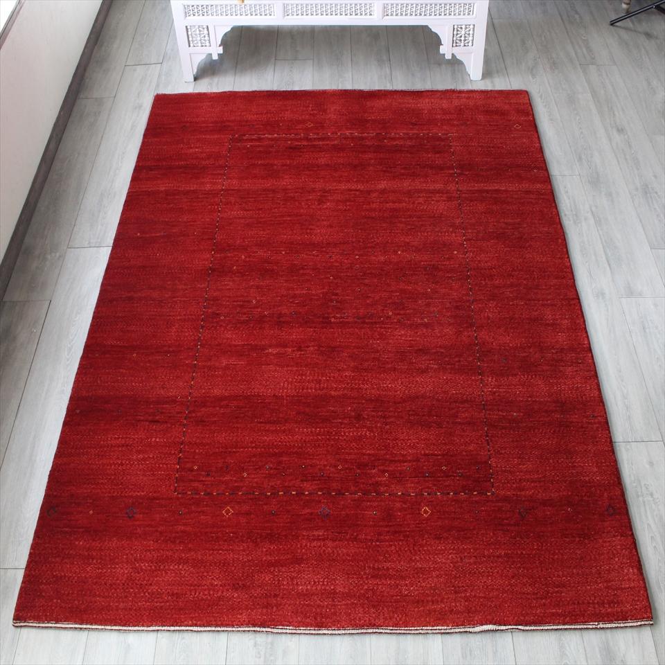 ギャッベ・バナフシェ/ワンランク上の織り リビングサイズ232x170cm レッドグラデーション スクエアデザイン