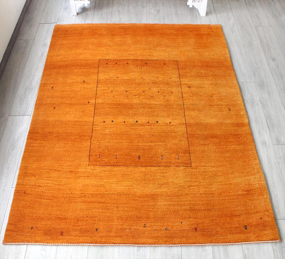 ギャッベ・バナフシェ/ワンランク上の織り リビングサイズ216x167cm オレンジ スクエアデザイン 植物モチーフ