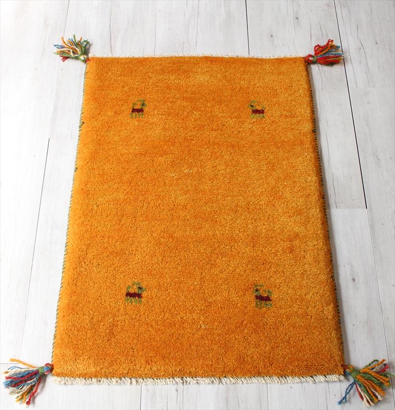 ギャッベ/玄関マットサイズ 厚手でふかふかな織り80x54cm オレンジ・動物モチーフ