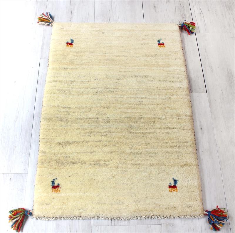 ギャッベ/玄関マットサイズ 厚手でふかふかな織り88x58cm ナチュラルアイボリー 動物と植物モチーフ