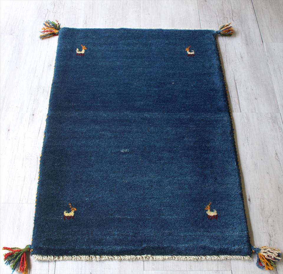 ギャッベ 厚手でふかふかな織り88x60cm 玄関マットサイズ ブルー 動物モチーフ