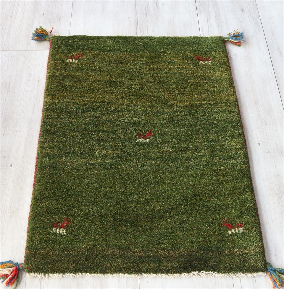 ギャッベ/ふかふかスタンダード玄関マットサイズ88x61cm グリーン 動物モチーフ