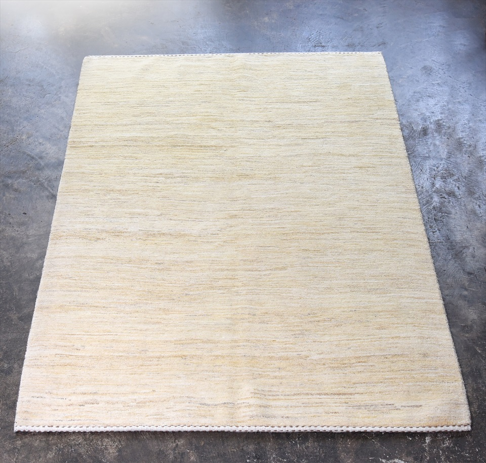 ギャッベ イラン直輸入 バナフシェ リビングサイズ206×154cmナチュラルアイボリー/グラデーション
