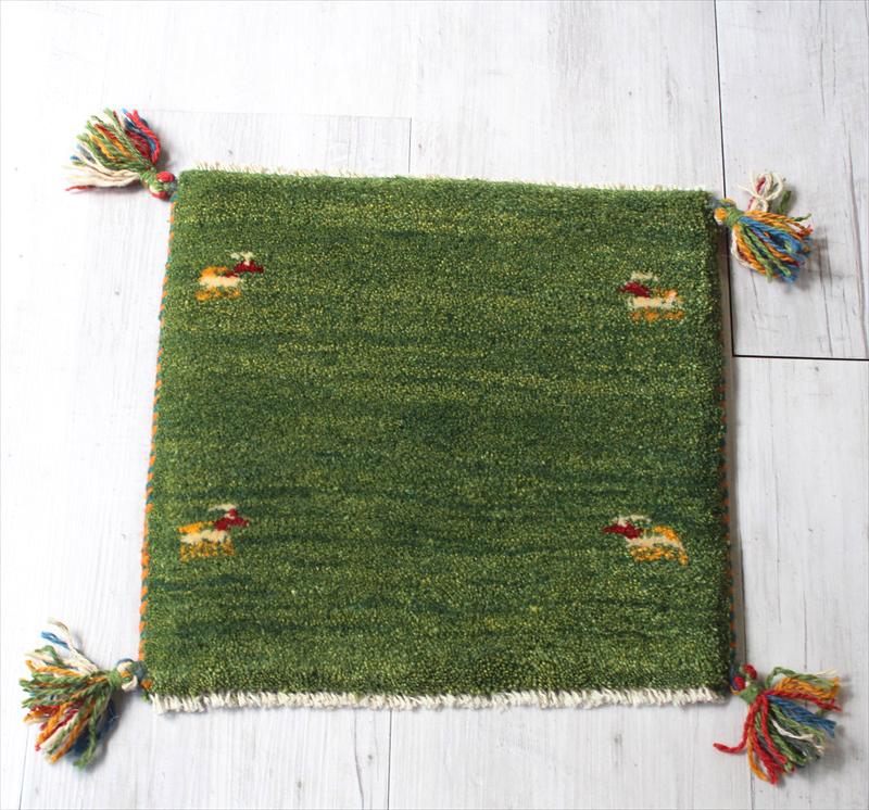 ギャッベ 座布団サイズ37x38cm ライトグリーン 動物モチーフ