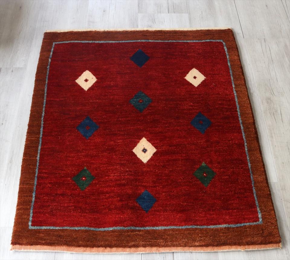 ギャベ 手織り ラグ ノマド 玄関マットサイズ96x81cm レッド(Red)/ブラウン(Brown)ダイヤモンド スクエア