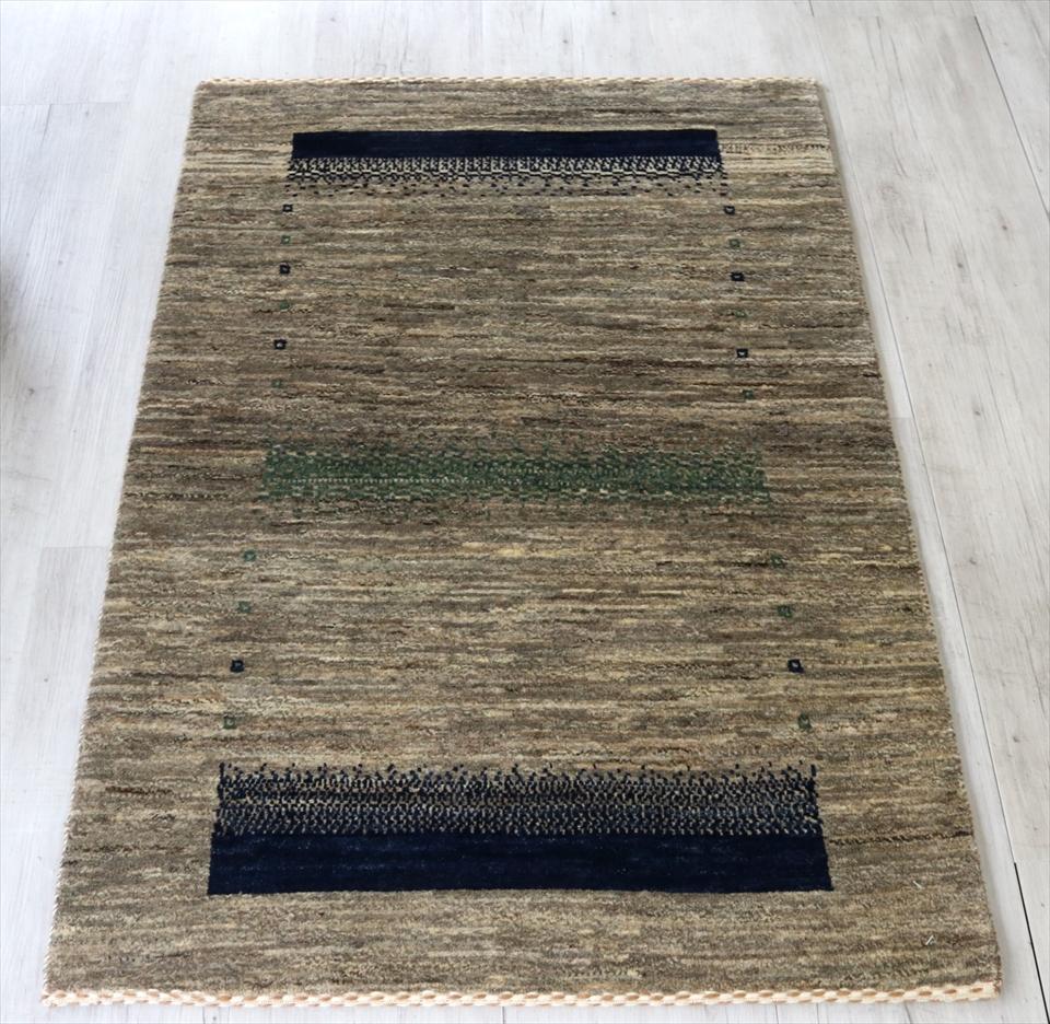 ギャッベ 手織り ラグ ロリアタシュ アクセントラグサイズナチュラル(Natural) グレー(Gray)/スクエアグラデーション
