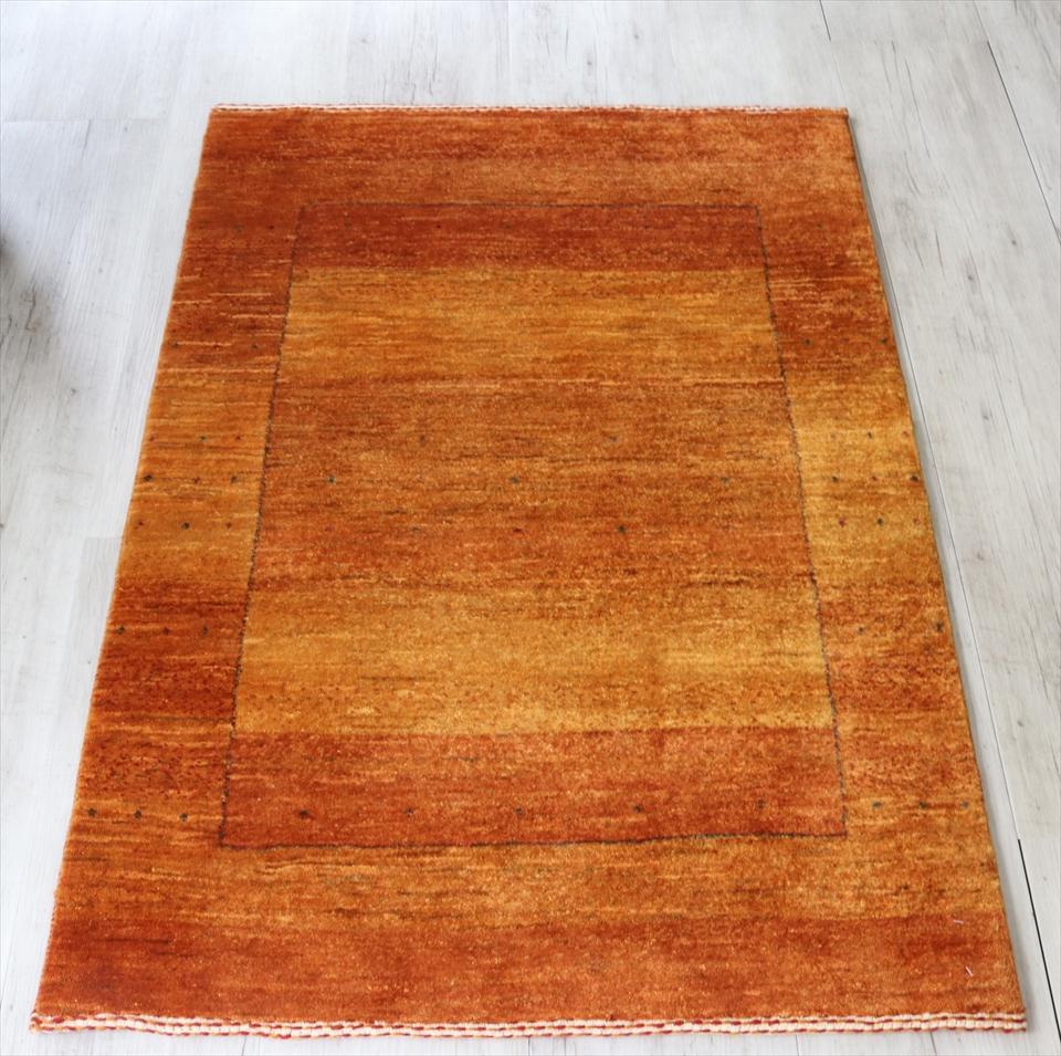 ギャベ 手織り ラグ ロリアタシュ アクセントラグサイズ120×85cmイエロー(黄)/スクエアグラデーション(gh31603)