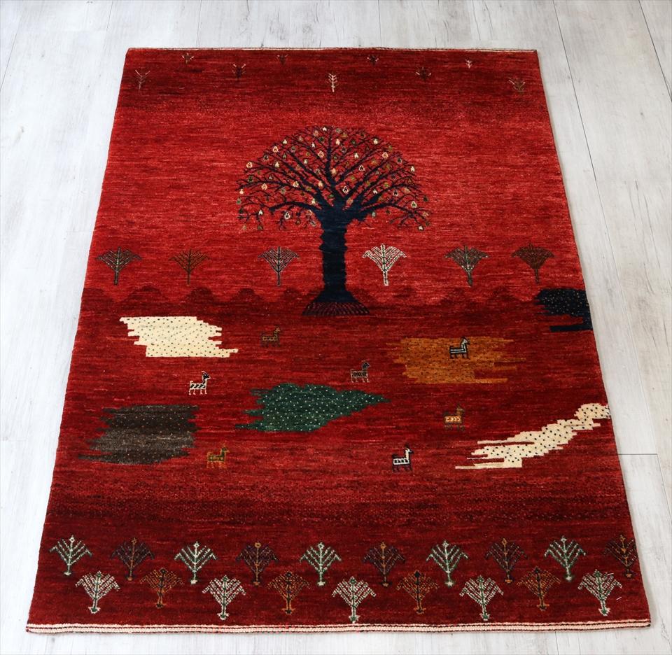 ギャッベ 手織り ラグ ノウバフト アクセントラグサイズレッド(Red) カラフル(Colorful)/風景 植物モチーフ