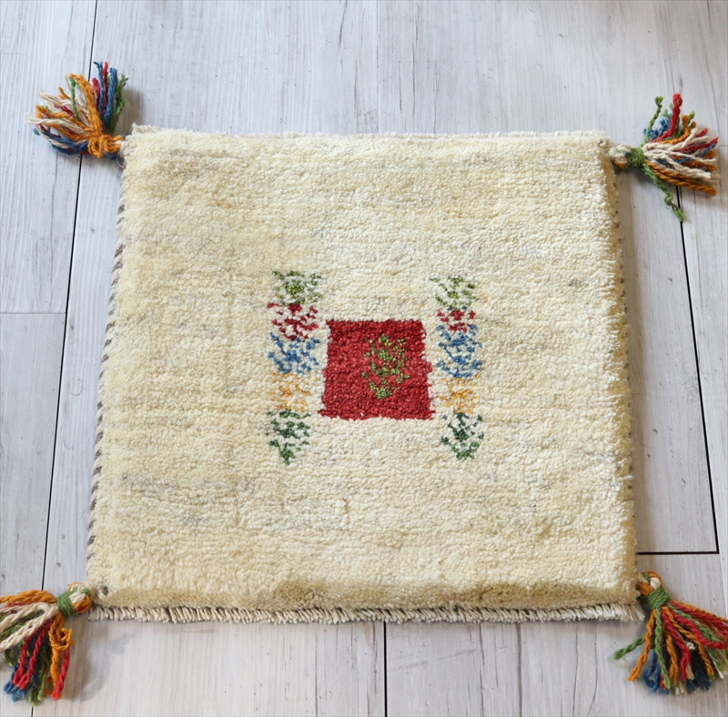 ギャッベ Gabbeh イラン南部の遊牧民・カシュカイ族の手織りラグ37x37cm 座布団サイズ ナチュラルアイボリー