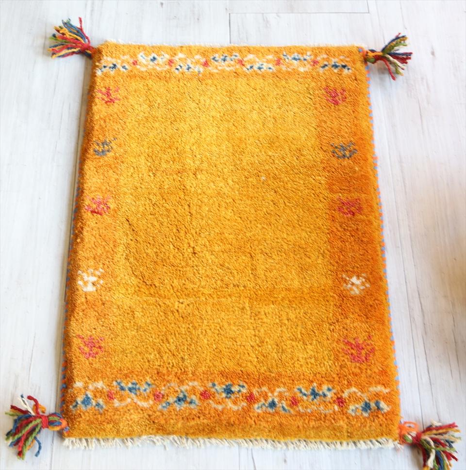 ギャッベ イラン遊牧民族手織り ラグ 玄関 ミニサイズ61x42cm オレンジ 植物モチーフ