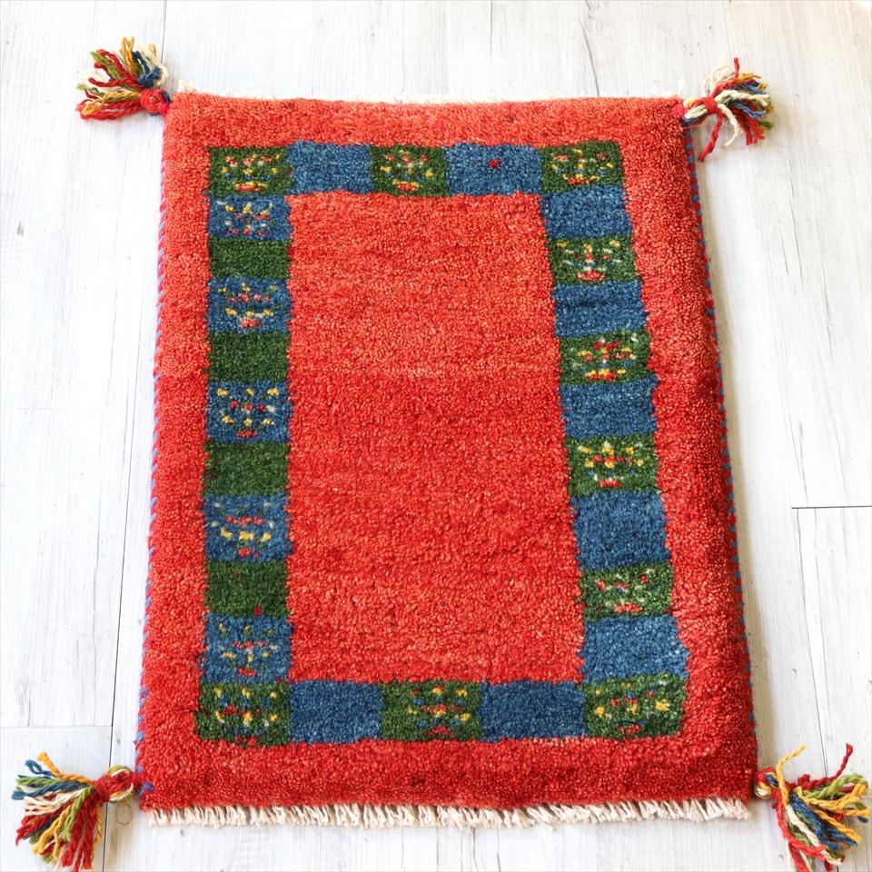 ギャッベ 玄関マット イランの手織りじゅうたん スタンダードな織り55x40cm ミニサイズ/レッド タイルボーダー 植物モチーフ