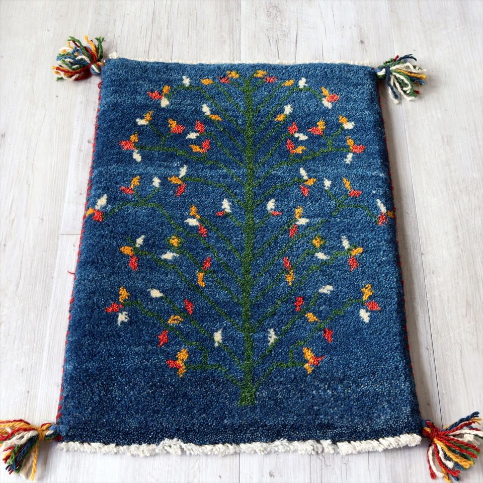 ギャッベ gabbeh イラン製手織りラグ 玄関 ミニサイズ58x41cm ブルー 花咲く大きな生命の樹