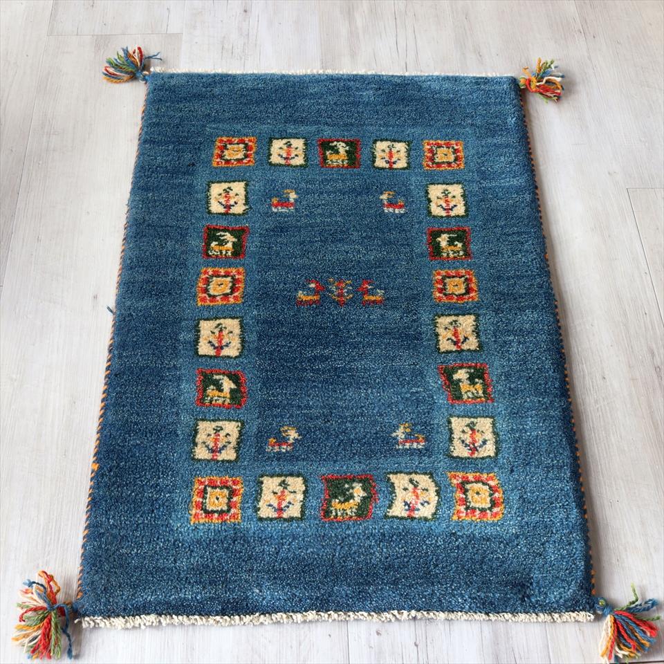 ギャッベ イラン製 手織りラグ 玄関マットサイズ90x61cm ブルーグラデーション パターンスクエア 動物と植物モチーフ