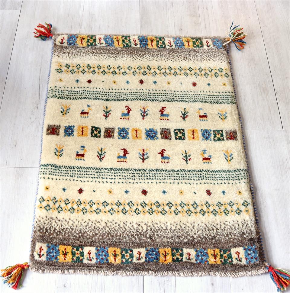 ギャッベ 手織りラグ 玄関 イラン製 玄関マットサイズ87x62cm ナチュラルアイボリー&ブラウン ストライプ ボーダー