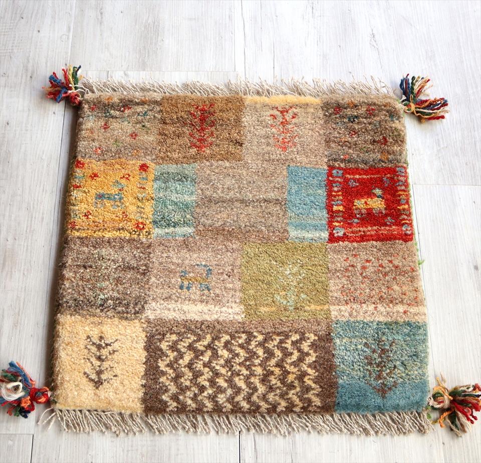 ギャッベ チェアマット 手織りラグ がっしりとした織り 座布団サイズ44x44cm カラフル ブラウン パズルのようなデザイン
