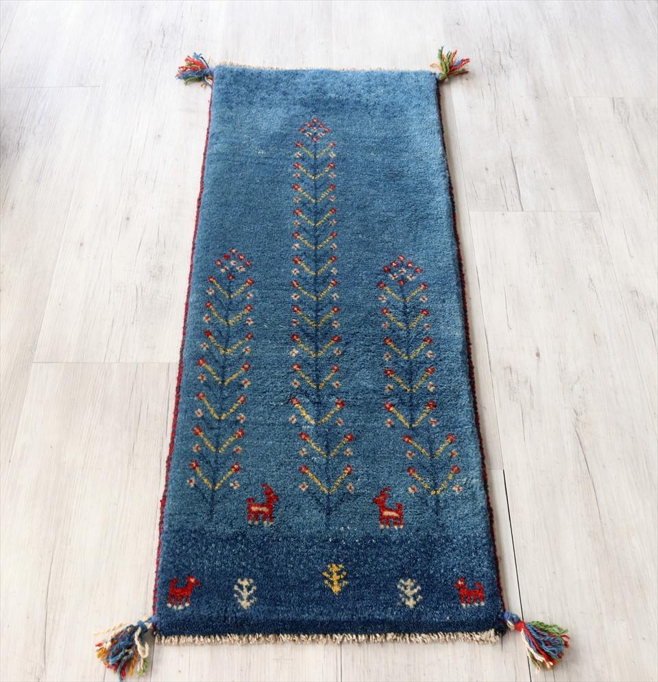 ギャッベ イラン南部カシュカイ族の手織り 毛足の長いふかふかタイプ115x43cm ブルー 自然風景
