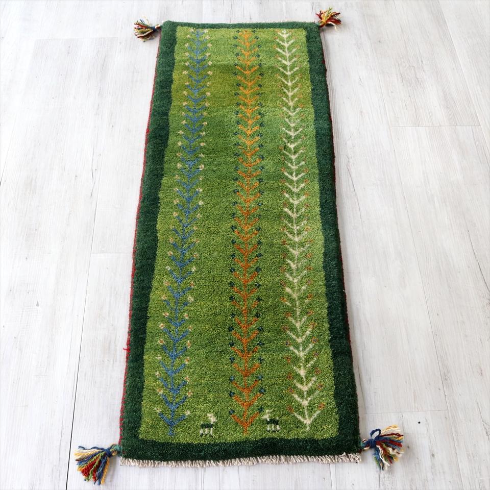 ギャッベ イラン南部カシュカイ族の手織り 120x44cm ランナーサイズ グリーン ツートーン 生命の樹