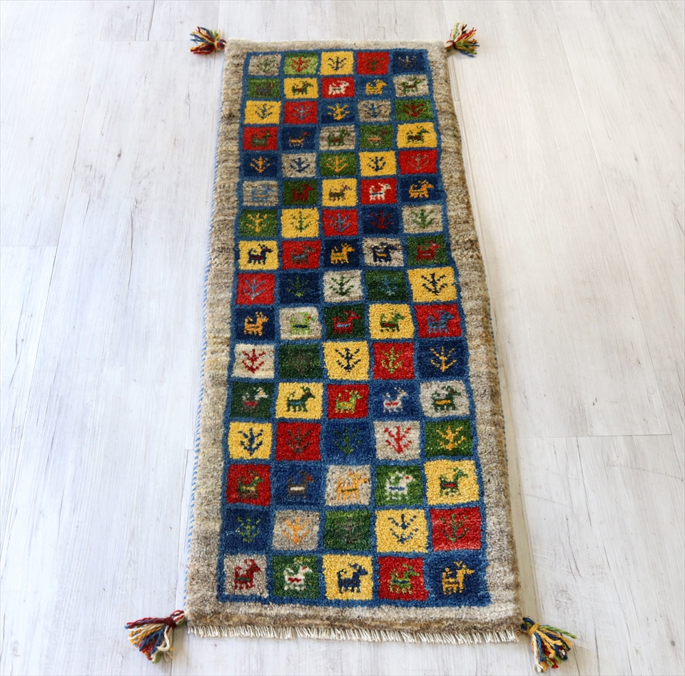 ギャッベ カシュカイ族の手織りラグ115x42cm ランナーサイズ カラフル グレー タイル