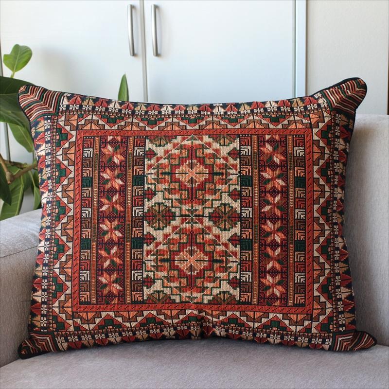パレスチナ刺繍のクッションカバー60×50cmふたつのダイヤ/オレンジ・グリーン・ブラック