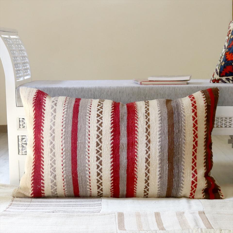 オールドキリムクッションカバー 100×60cm Old kilim pillow ボーダージジム・ホワイト&レッド