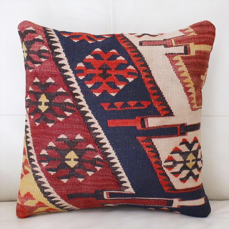 オールドキリムクッションカバー40cm, 手織りのヴィンテージトルコキリムアダナ・チフカナットキリム