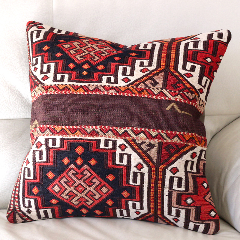 キリムクッションカバー40cm角・トルコ手織りキリム/ヴィンテージ・オールドKilim Cushion 立体感のあるスマック織り・収納袋からのカット