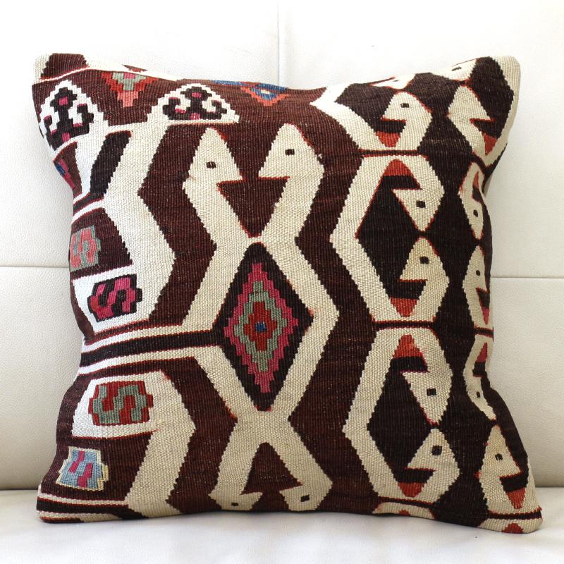 キリムクッションカバー40cm角・トルコ手織りキリム/アンティークキリムアイドゥン・Aydin