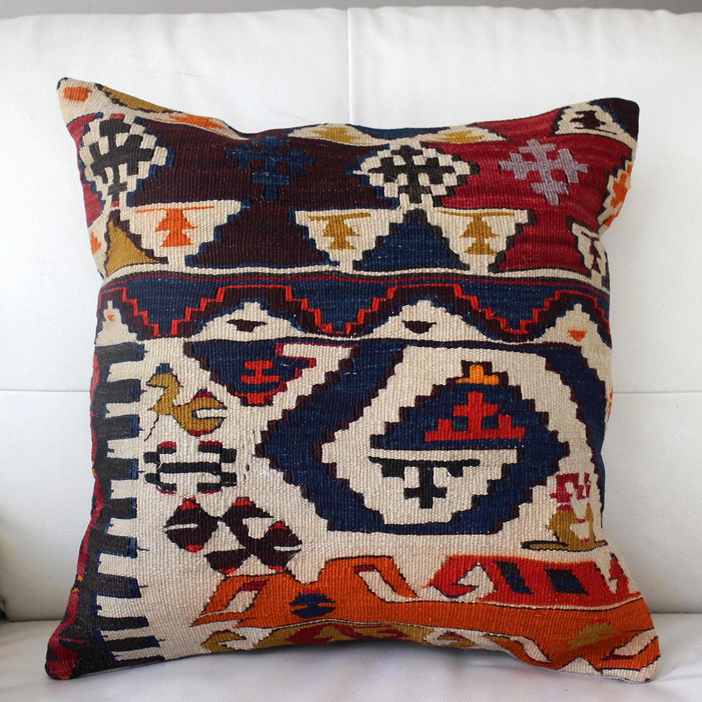 オールドキリムのクッションカバー45cm角・Old Turkish Kilim Cushion・ヴィンテージ/トルコ手織りキリムアイドゥン/鮮やかなネイビー・レッド・オレンジ
