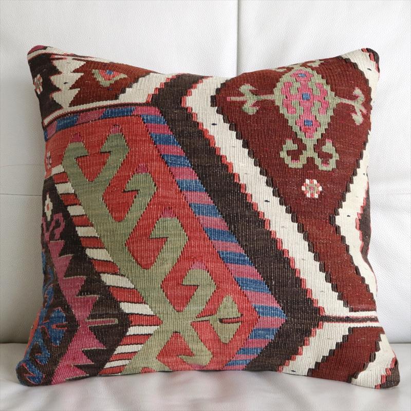 アンティークキリムクッションカバー 40cm・Old Turkish Kilim Cushion アイドゥンチネ/オレンジ・ローズピンク・ブルー