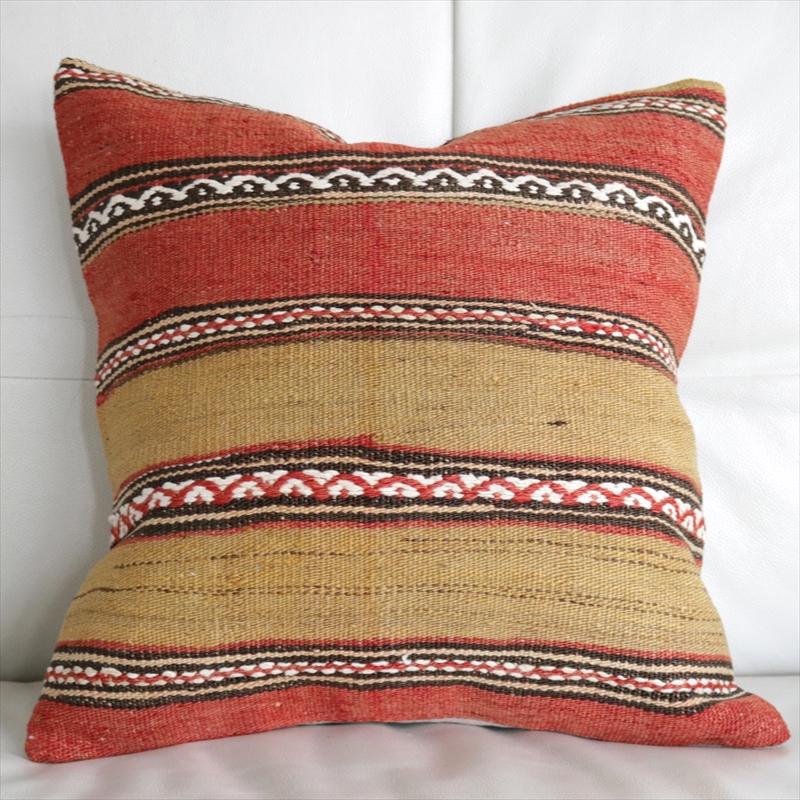 オールドキリムクッションカバー 40cm・Old Turkish Kilim Cushion トルコのウール手織りキリム シンプルなボーダー・波のジジム