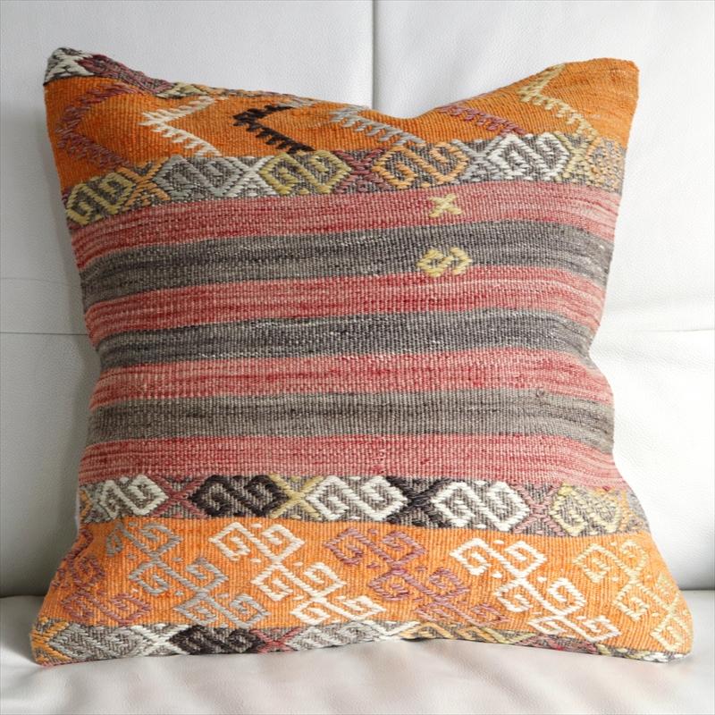 オールドキリムクッションカバー 40cm・Old Turkish Kilim Cushion トルコのウール手織りキリム シンプルボーダー・ジジム