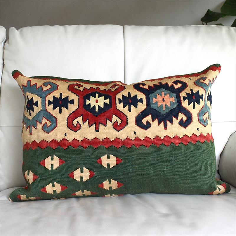 オールドキリムクッションカバー・長方形・枕型・ビッグピロー Old Turkish Kilim Cushion トルコのウール手織りキリム シャルキョイ/グリーン&アイボリー
