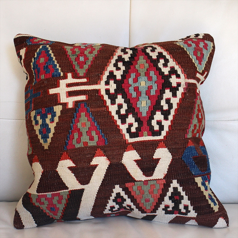 オールドキリムクッションカバー40cm Old Turkish kilim Cushion トルコのウール手織りキリム アイドゥン/ローズピンク・グリーン&ブルー・イエロー・サーモンオレンジ