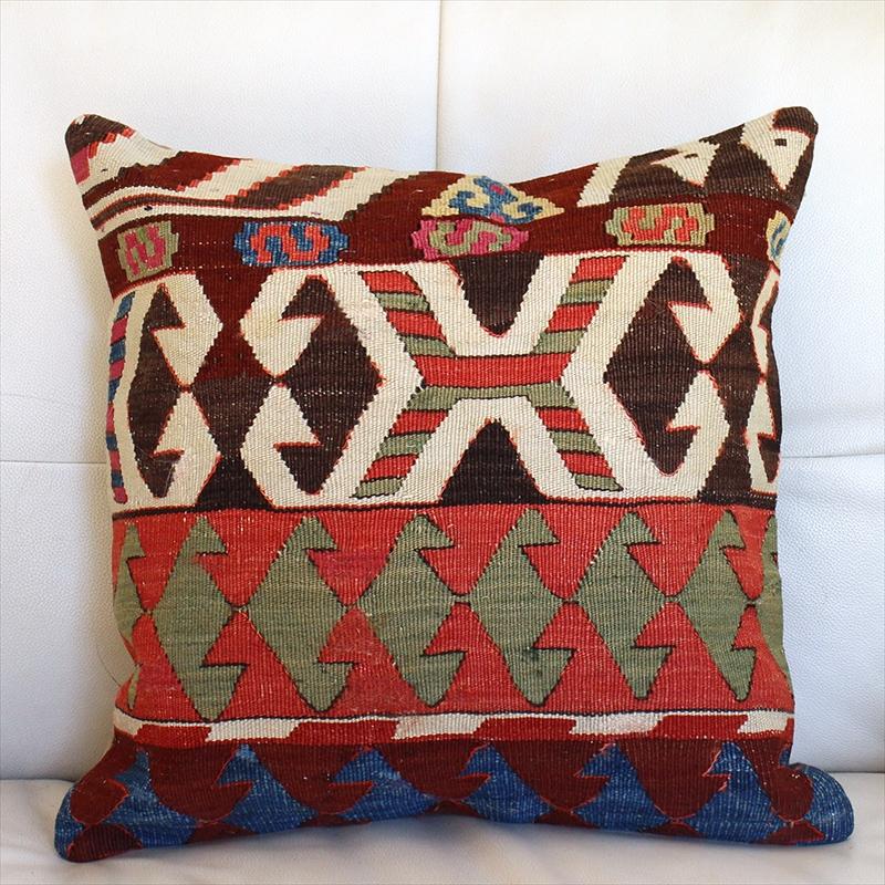 オールドキリムクッションカバー40cm Old Turkish kilim Cushion トルコのウール手織りキリム アイドゥン/オレンジ・ローズピンク&グリーン・ブルー
