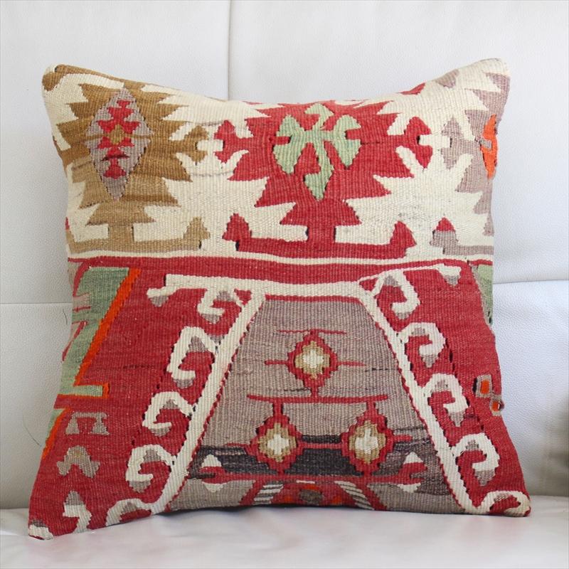 キリムクッションカバー40cm角・トルコ手織りキリム/ヴィンテージ・オールドKilim Cushion連なる六角形・ドラゴンの白い爪