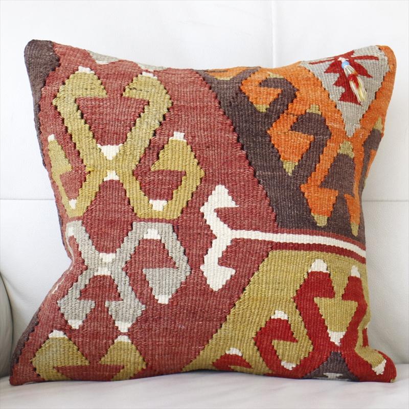 オールドキリムクッションカバー40cm Turkish Kilim Cushion トルコのウール手織りキリムコチボユヌズとサソリ