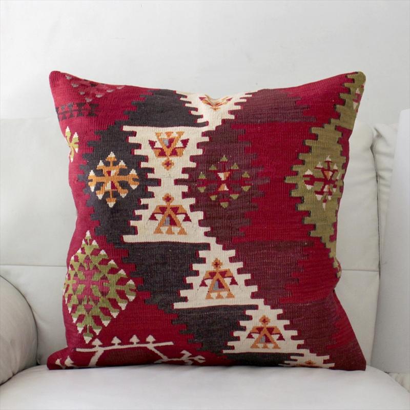 オールドキリムクッションカバー60cm角サイズ・Turkish Old Kilim Cushion トルコ手織りキリム階段状の三角モチーフ