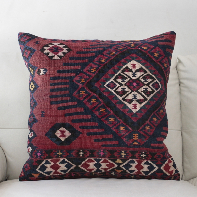 オールドキリムクッションカバー60cm角サイズ・Turkish Old Kilim Cushion トルコ手織りキリムレッド&ネイビー/ワン