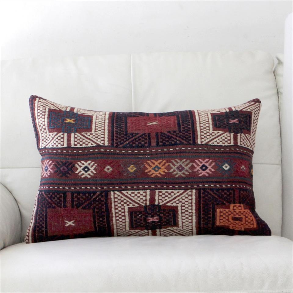 オールドキリムクッションカバー・長方形・枕型・ビッグピロー Old Turkish Kilim Cushion トルコのウール手織りキリム60×37cmバルケスィール/小豆色・紺と白のジジム
