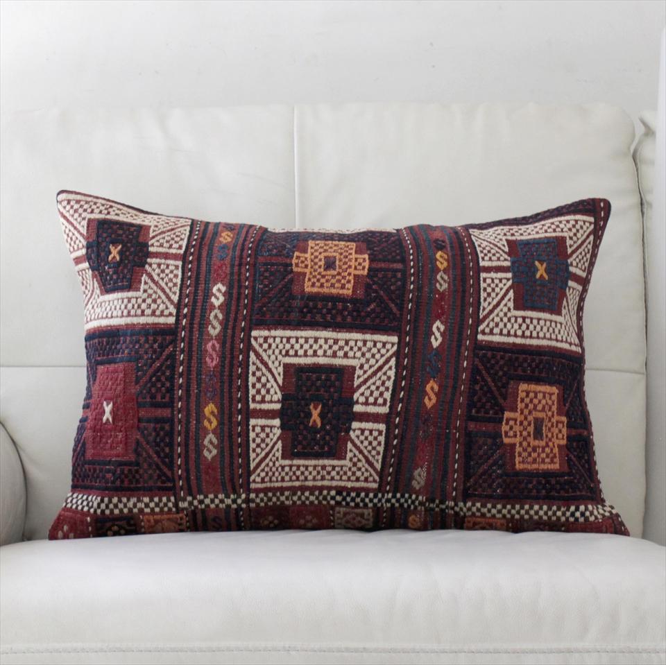 オールドキリムクッションカバー・長方形・枕型・ビッグピロー Old Turkish Kilim Cushion トルコのウール手織りキリム59×40cmバルケスィール/小豆色・紺と白のジジム