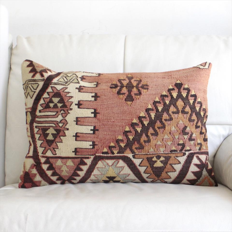 オールドキリムクッションカバー・長方形・枕型・ビッグピロー Old Turkish Kilim Cushion トルコのウール手織りキリム60×41cmドラゴンのモチーフ