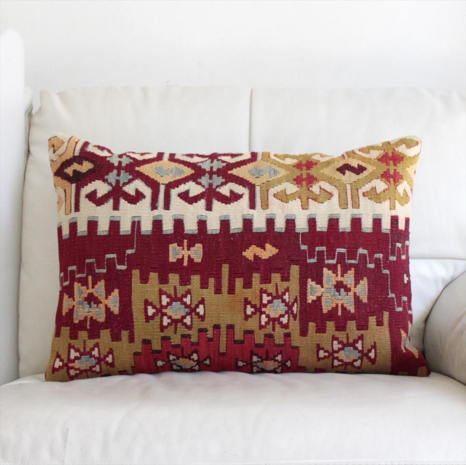 オールドキリムクッションカバー・長方形・枕型・ビッグピロー Old Turkish Kilim Cushion トルコのウール手織りキリム60×40cmシブリヒサル/ジグザグした階段状のひし形メダリオン